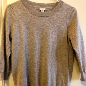 Tan J. Crew Factory ¾ length sleeve teddie sweater